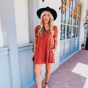 Burnt Orange Button Front Shift Dress with Pockets